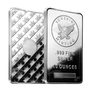 10 oz Sunshine Mint Silver Bar .999 Fine