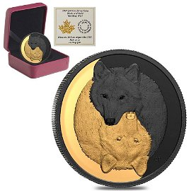 2021 Canada 1 oz Silver The Grey Wolf - Black and Gold
