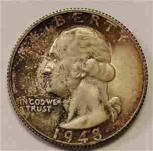 Authentic 1948-S Washington Silver Quarter Grading GEM
