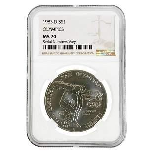 1983 D Olympics $1 Silver Dollar Commemorative NGC MS