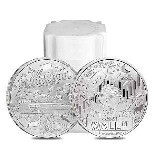 Roll of 20 - 2021 1 oz Wallstreet Silver Round BU .999