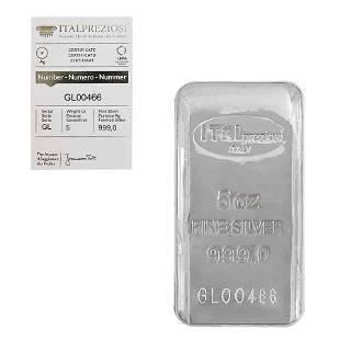 5 oz Italpreziosi Italian Silver Cast Bar .999 Fine