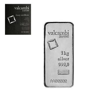 1 Kilo Silver Bar Valcambi Suisse .999 Fine (w/Assay)