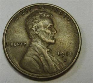 Authentic 1911-S Lincoln Cent Grading AU Attractive
