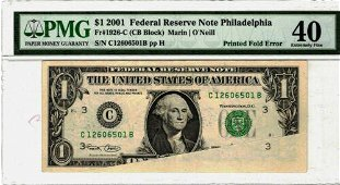 Authentic 2001 $1 Philadelphia Federal Reserve Note