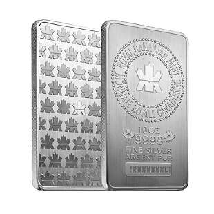 10 oz Royal Canadian Mint (RCM) .9999 Fine Silver Bar