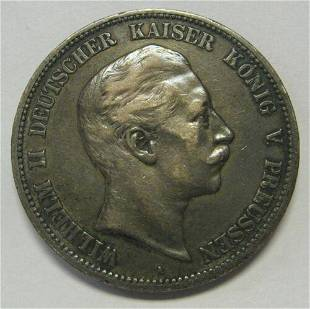 Authentic 1899-A German Prussia 5 Marks .8037 ASW