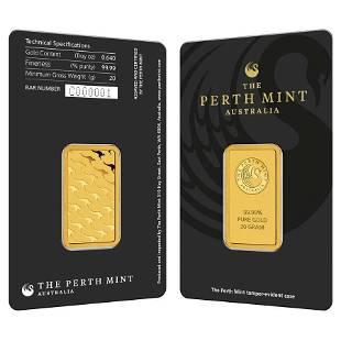 20 gram Perth Mint Gold Bar .9999 Fine (In Assay)