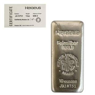 10 oz Heraeus Silver Bar .9999 Fine (w/COA)