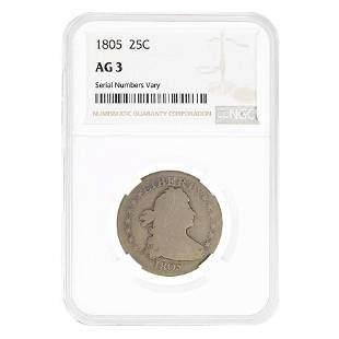 1805 Draped Bust Silver Quarter Dollar 25C NGC AG 3