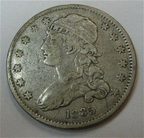 Authentic Attractive Circulated 1835 Capped Bust Silver