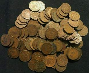 Authentic 100 Mixed Indian Head Cents in Average