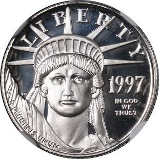 Authentic 1997-W Platinum American Eagle $10 NGC PF70