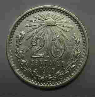 Authentic 1905 Mexico 20 Twenty Silver Centavos in