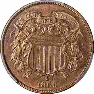 Authentic 1869 Two (2) Cent Piece Proof PCGS PR65 RB