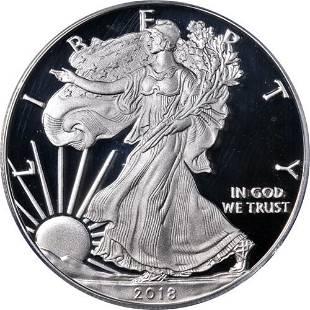 Authentic 2018-W Silver American Eagle $1 ICG PR70