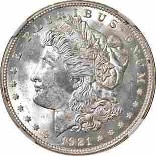 Authentic 1921-D Morgan Silver Dollar NGC MS64 Blast