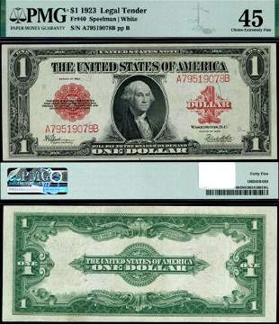 Authentic FR. 40 $1 1923 Legal Tender Choice PMG
