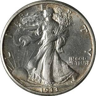 Authentic 1933-S Walking Liberty Half Nice Unc Details