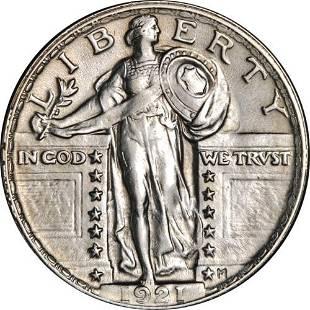 Authentic 1921 Standing Liberty Quarter Full Head Nice