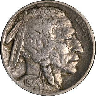 Authentic 1914/3-P Buffalo Nickel Early Die State Nice