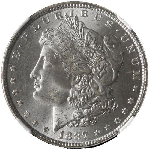 Authentic 1887-P Morgan Silver Dollar NGC MS65 Blast
