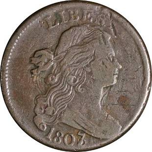 Authentic 1807/6 Large Cent Large 1807 Pointed 1 Nice