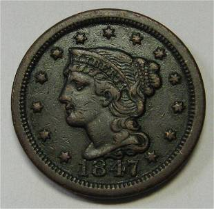 Authentic 1847 Braided Hair Large Cent in XF+ Nice
