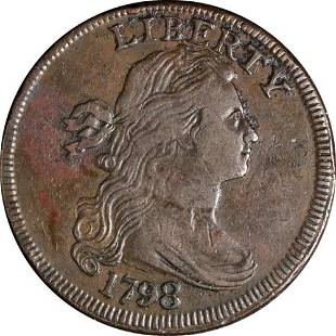 Authentic 1798 Large Cent Style 1 Hair Nice XF S.145