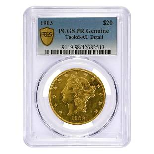 1903 $20 Liberty Head Double Eagle Proof Gold Coin PCGS