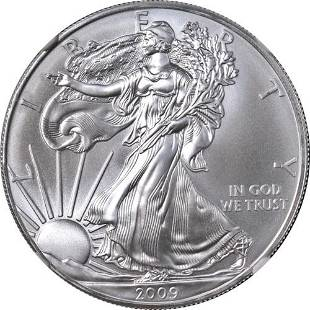 Authentic 2009 Silver American Eagle $1 NGC MS70 Brown