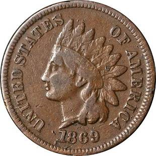Authentic 1869 Indian Cent Choice VG+ Great Eye Appeal