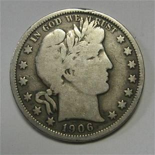 Authentic 1906-O Silver Barber Half Dollar Grading FINE