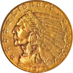 Authentic 1912-P Indian Gold $2.50 NGC MS63 Great Eye