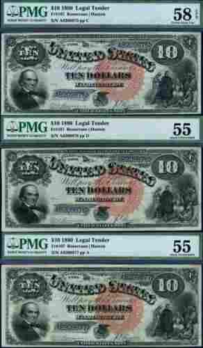 Authentic FR. 107 $10 1880 Legal Tender 3pc Consec Lot