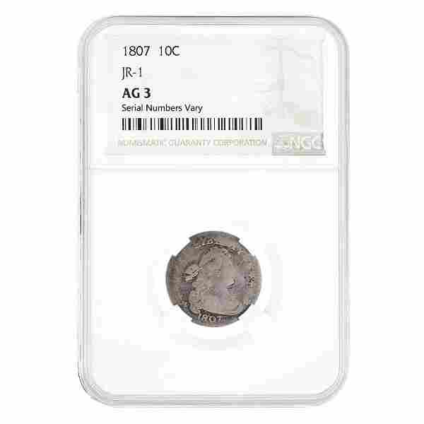 1807 Draped Bust Silver Dime 10C NGC AG 3