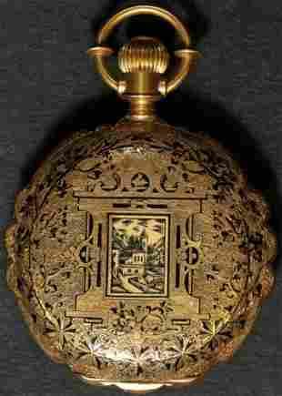 Authentic Vintage Pocket Watch Case 18k Gold & Black