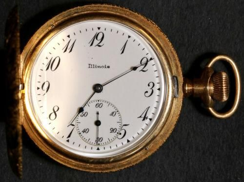 Authentic Illinois Co. Pocket Watch 10 Size 17 J. 14k