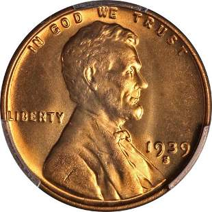 Authentic 1939-S Lincoln Cent PCGS MS66+ RD Full