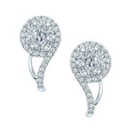 Diamond Clef Earring In 14k White Gold