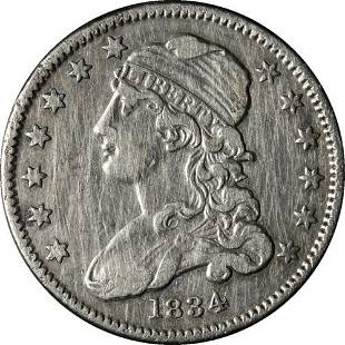 Authentic 1834 Bust Quarter 'O Over F in OF' Nice XF