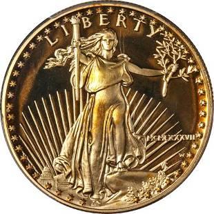 Authentic 1987-W Gold American Eagle $50 PCGS PR69 DCAM