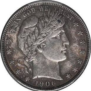 Authentic 1906-D Barber Half Dollar PCGS MS63 Great Eye