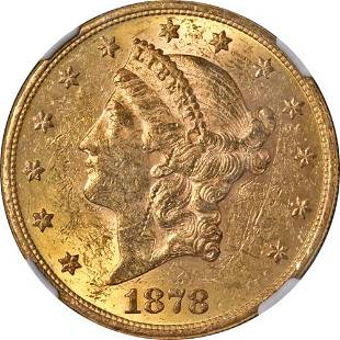 Authentic 1878-P Liberty Gold $20 NGC AU55 Decent Eye