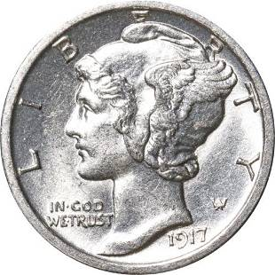 Authentic 1917-S Mercury Dime Great Deals From The