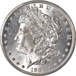 Authentic 1884-CC Morgan Silver Dollar PCGS MS64+