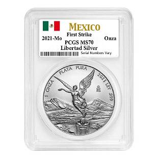 2021 1 oz Mexican Silver Libertad Coin PCGS MS 70 First