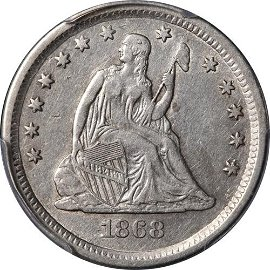 Authentic 1868-S Seated Liberty Quarter PCGS VF Details