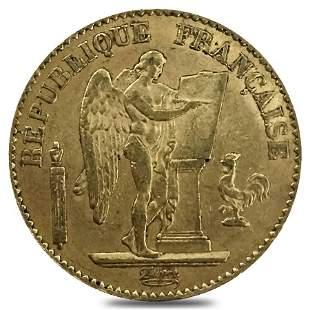 20 Francs French Lucky Angel Gold Coin AGW .1867 oz AU