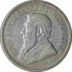 Authentic 1895 South Africa 2 1/2 Shillings KM-7 0.925